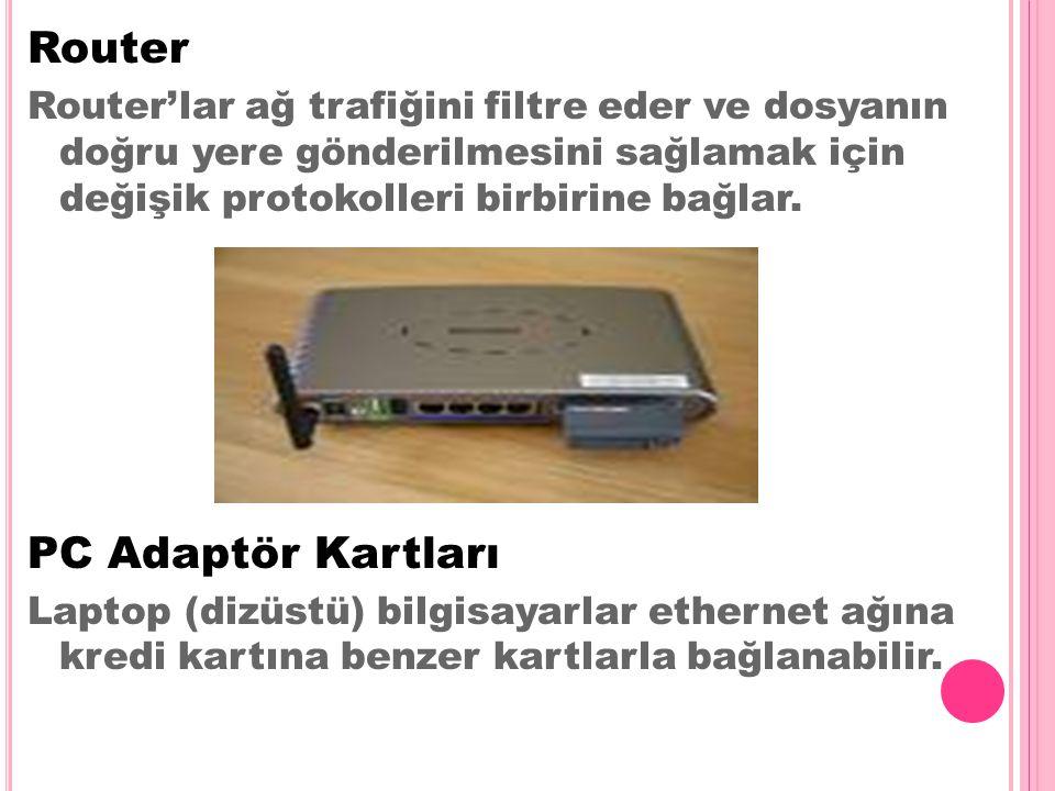 Router Router'lar ağ trafiğini filtre eder ve dosyanın doğru yere gönderilmesini sağlamak için değişik protokolleri birbirine bağlar. PC Adaptör Kartl