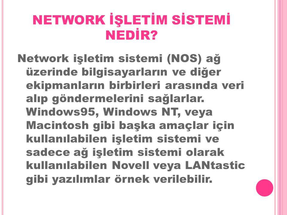NETWORK İŞLETİM SİSTEMİ NEDİR? Network işletim sistemi (NOS) ağ üzerinde bilgisayarların ve diğer ekipmanların birbirleri arasında veri alıp göndermel
