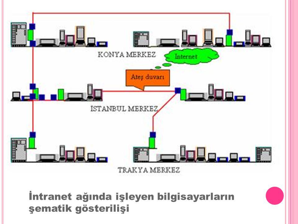 İntranet ağında işleyen bilgisayarların şematik gösterilişi