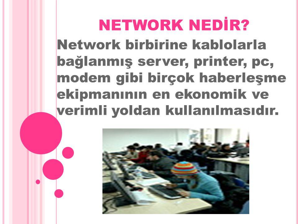 NETWORK NEDİR? Network birbirine kablolarla bağlanmış server, printer, pc, modem gibi birçok haberleşme ekipmanının en ekonomik ve verimli yoldan kull