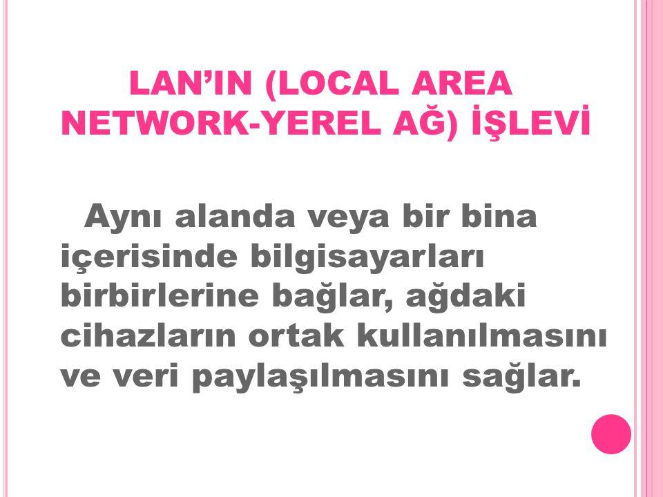 LAN'IN (LOCAL AREA NETWORK-YEREL AĞ) İŞLEVİ Aynı alanda veya bir bina içerisinde bilgisayarları birbirlerine bağlar, ağdaki cihazların ortak kullanılmasını ve veri paylaşılmasını sağlar.