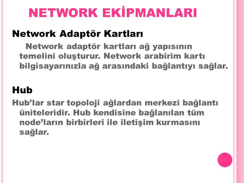 NETWORK EKİPMANLARI Network Adaptör Kartları Network adaptör kartları ağ yapısının temelini oluşturur. Network arabirim kartı bilgisayarınızla ağ aras
