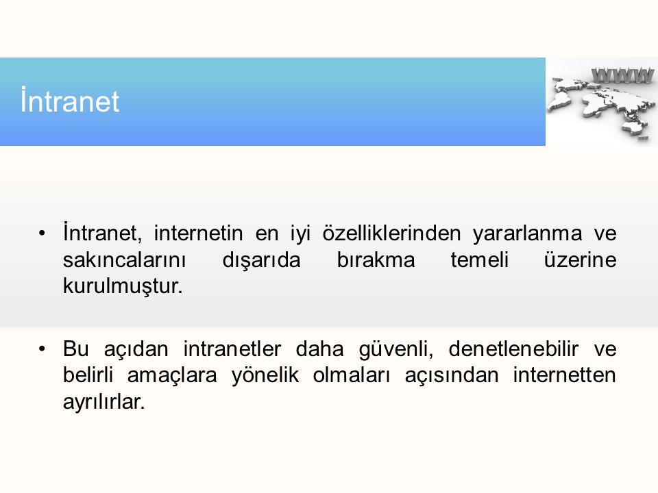 İntranet, internetin en iyi özelliklerinden yararlanma ve sakıncalarını dışarıda bırakma temeli üzerine kurulmuştur.
