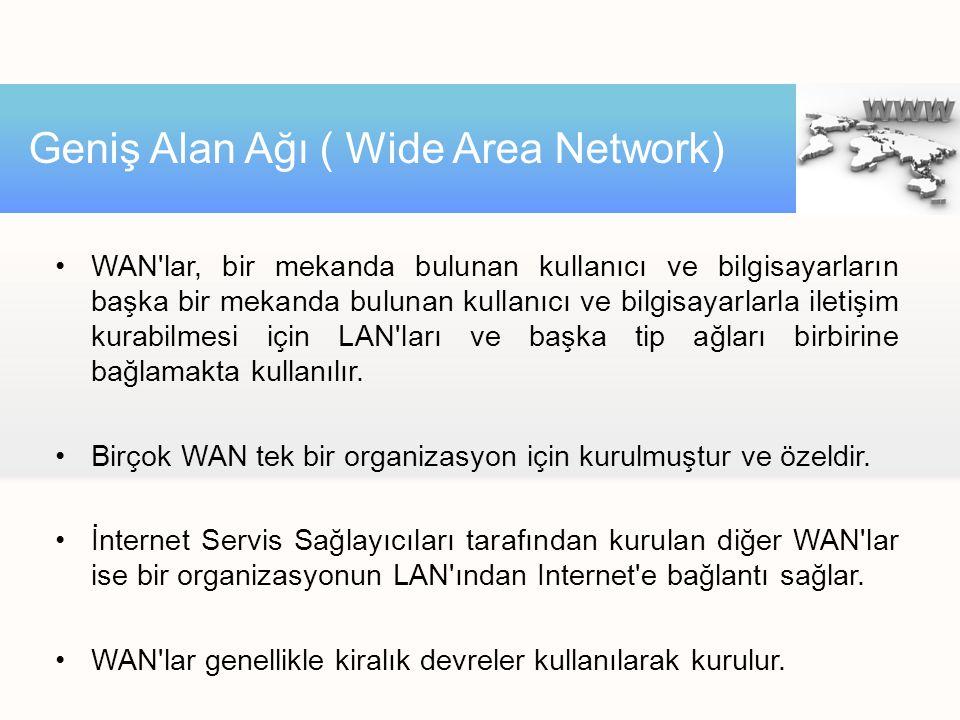 WAN lar, bir mekanda bulunan kullanıcı ve bilgisayarların başka bir mekanda bulunan kullanıcı ve bilgisayarlarla iletişim kurabilmesi için LAN ları ve başka tip ağları birbirine bağlamakta kullanılır.