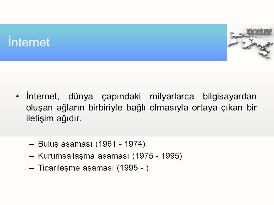 İnternet, dünya çapındaki milyarlarca bilgisayardan oluşan ağların birbiriyle bağlı olmasıyla ortaya çıkan bir iletişim ağıdır.