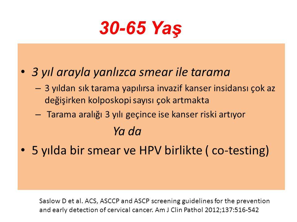 30-65 Yaş 3 yıl arayla yanlızca smear ile tarama – 3 yıldan sık tarama yapılırsa invazif kanser insidansı çok az değişirken kolposkopi sayısı çok artm
