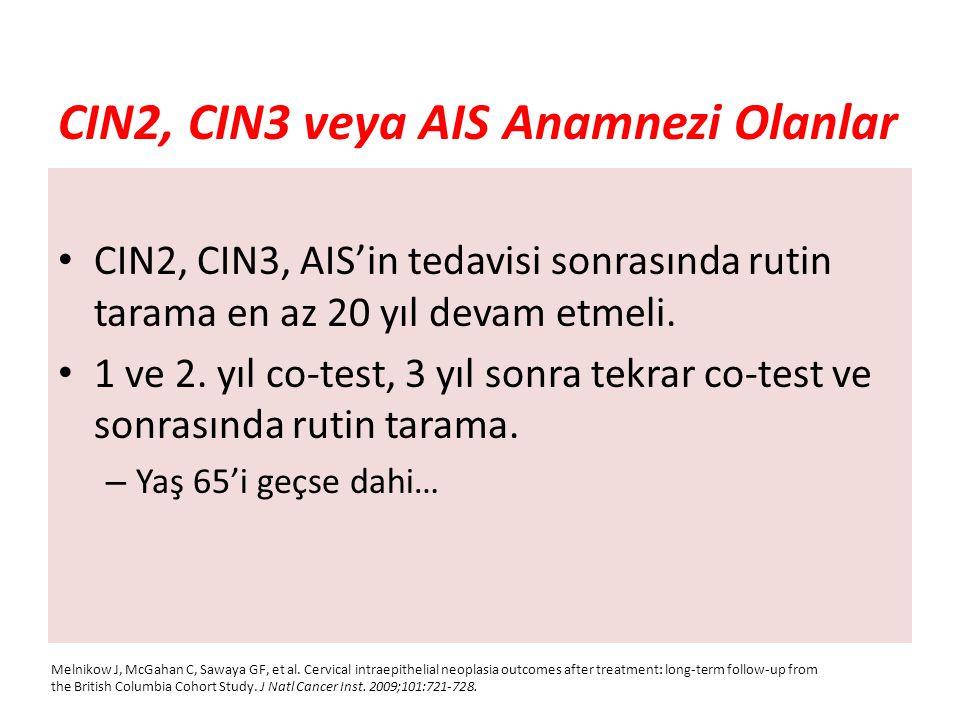 CIN2, CIN3 veya AIS Anamnezi Olanlar CIN2, CIN3, AIS'in tedavisi sonrasında rutin tarama en az 20 yıl devam etmeli. 1 ve 2. yıl co-test, 3 yıl sonra t
