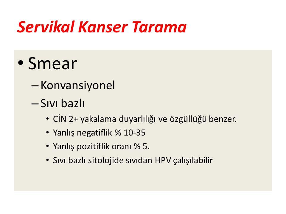 Servikal Kanser Tarama Smear – Konvansiyonel – Sıvı bazlı CİN 2+ yakalama duyarlılığı ve özgüllüğü benzer. Yanlış negatiflik % 10-35 Yanlış pozitiflik