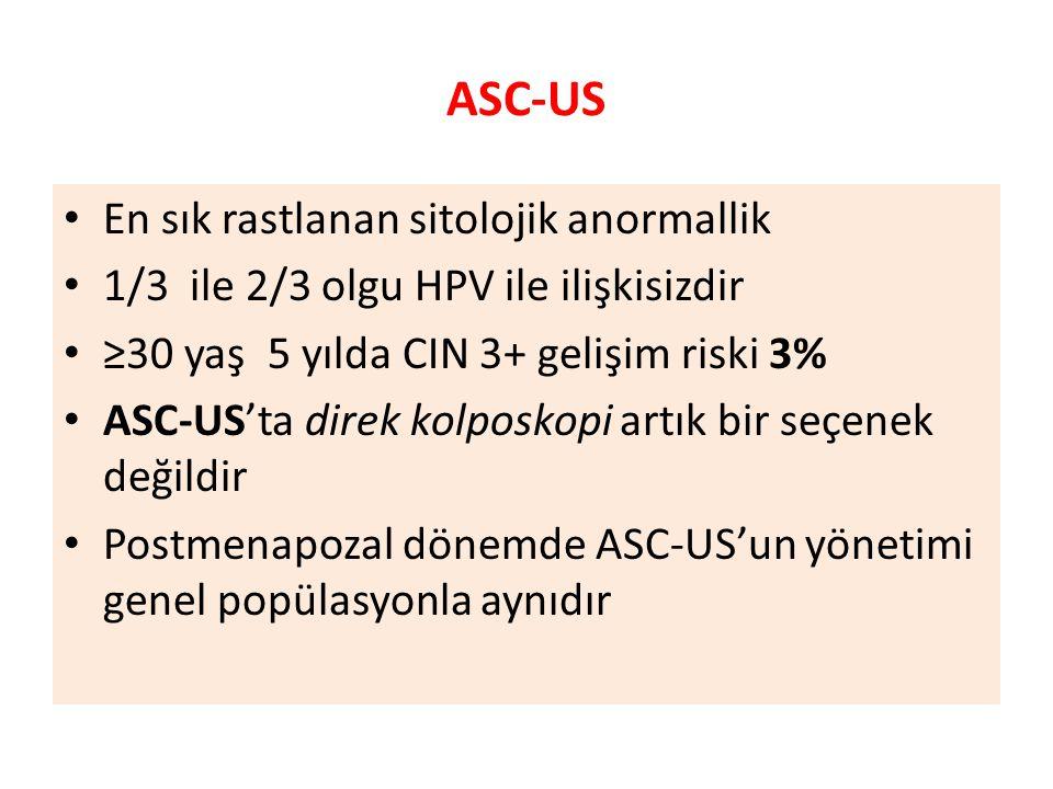 ASC-US En sık rastlanan sitolojik anormallik 1/3 ile 2/3 olgu HPV ile ilişkisizdir ≥30 yaş 5 yılda CIN 3+ gelişim riski 3% ASC-US'ta direk kolposkopi