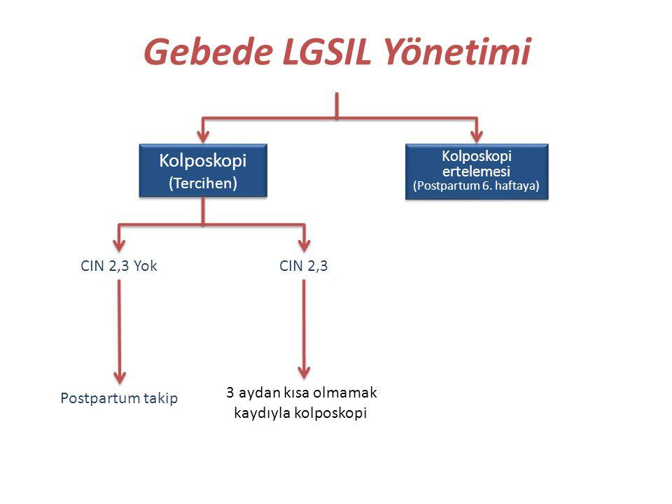 Gebede LGSIL Yönetimi Kolposkopi (Tercihen) Kolposkopi (Tercihen) Kolposkopi ertelemesi (Postpartum 6. haftaya) Kolposkopi ertelemesi (Postpartum 6. h