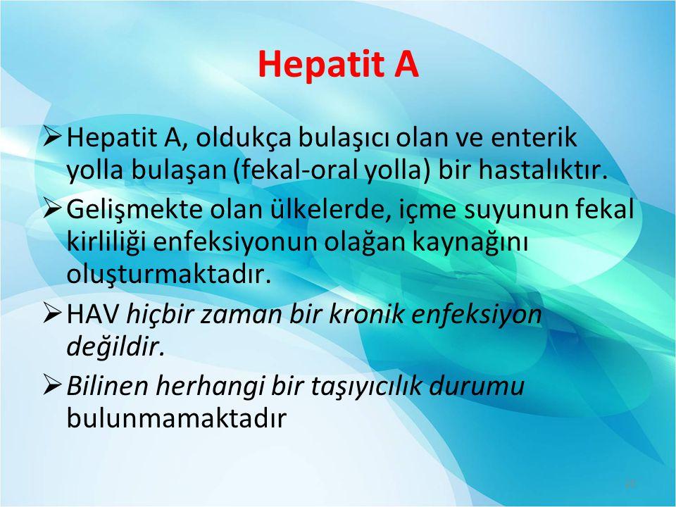 Hepatit A  Hepatit A, oldukça bulaşıcı olan ve enterik yolla bulaşan (fekal-oral yolla) bir hastalıktır.