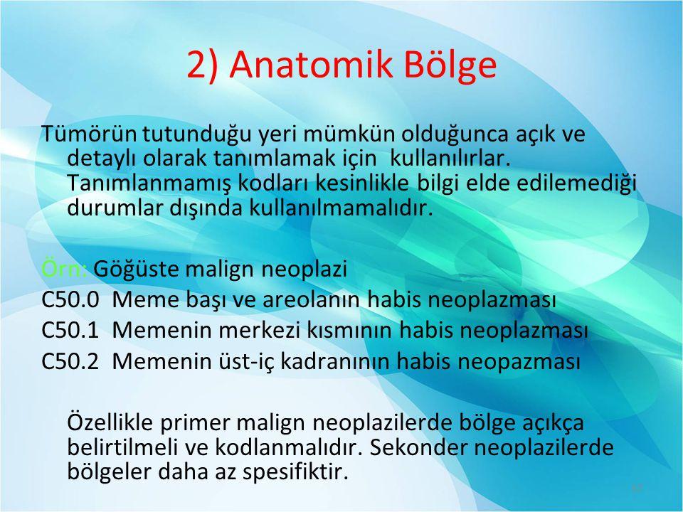 2) Anatomik Bölge Tümörün tutunduğu yeri mümkün olduğunca açık ve detaylı olarak tanımlamak için kullanılırlar.