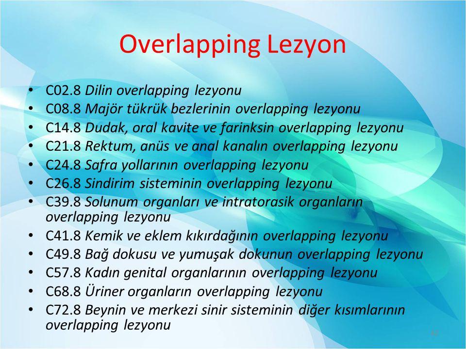 Overlapping Lezyon C02.8 Dilin overlapping lezyonu C08.8 Majör tükrük bezlerinin overlapping lezyonu C14.8 Dudak, oral kavite ve farinksin overlapping lezyonu C21.8 Rektum, anüs ve anal kanalın overlapping lezyonu C24.8 Safra yollarının overlapping lezyonu C26.8 Sindirim sisteminin overlapping lezyonu C39.8 Solunum organları ve intratorasik organların overlapping lezyonu C41.8 Kemik ve eklem kıkırdağının overlapping lezyonu C49.8 Bağ dokusu ve yumuşak dokunun overlapping lezyonu C57.8 Kadın genital organlarının overlapping lezyonu C68.8 Üriner organların overlapping lezyonu C72.8 Beynin ve merkezi sinir sisteminin diğer kısımlarının overlapping lezyonu 42