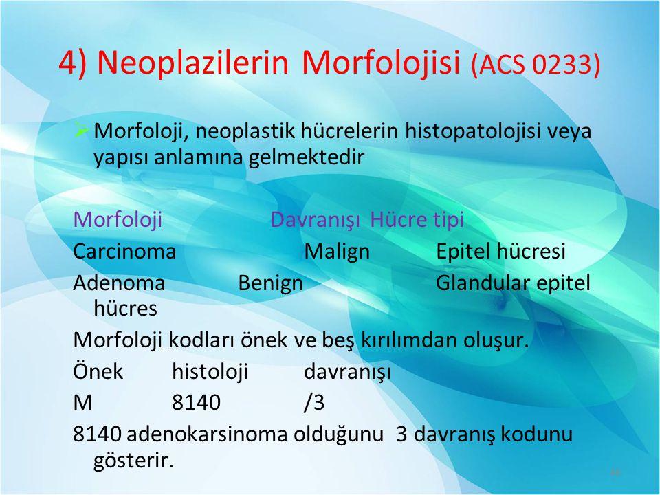 4) Neoplazilerin Morfolojisi (ACS 0233)  Morfoloji, neoplastik hücrelerin histopatolojisi veya yapısı anlamına gelmektedir Morfoloji DavranışıHücre tipi CarcinomaMalign Epitel hücresi AdenomaBenignGlandular epitel hücres Morfoloji kodları önek ve beş kırılımdan oluşur.
