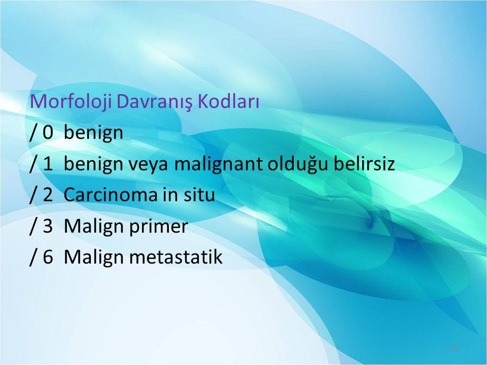 Morfoloji Davranış Kodları / 0 benign / 1 benign veya malignant olduğu belirsiz / 2 Carcinoma in situ / 3 Malign primer / 6 Malign metastatik 49