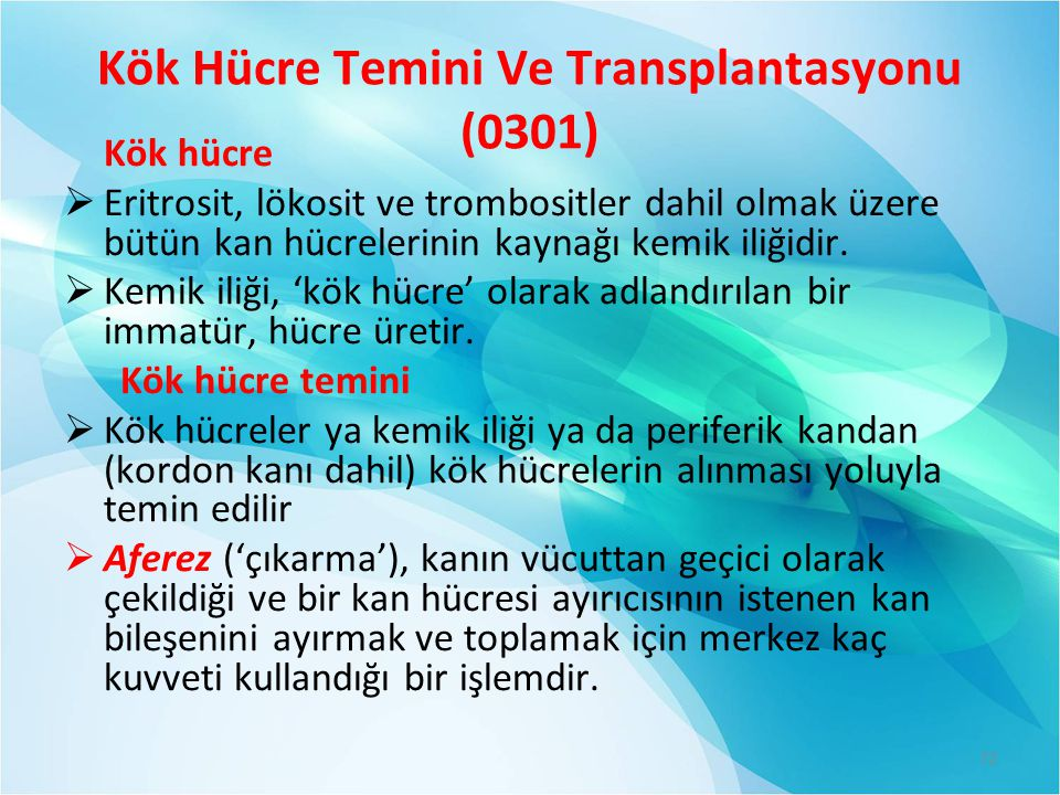 Kök Hücre Temini Ve Transplantasyonu (0301) Kök hücre  Eritrosit, lökosit ve trombositler dahil olmak üzere bütün kan hücrelerinin kaynağı kemik iliğidir.