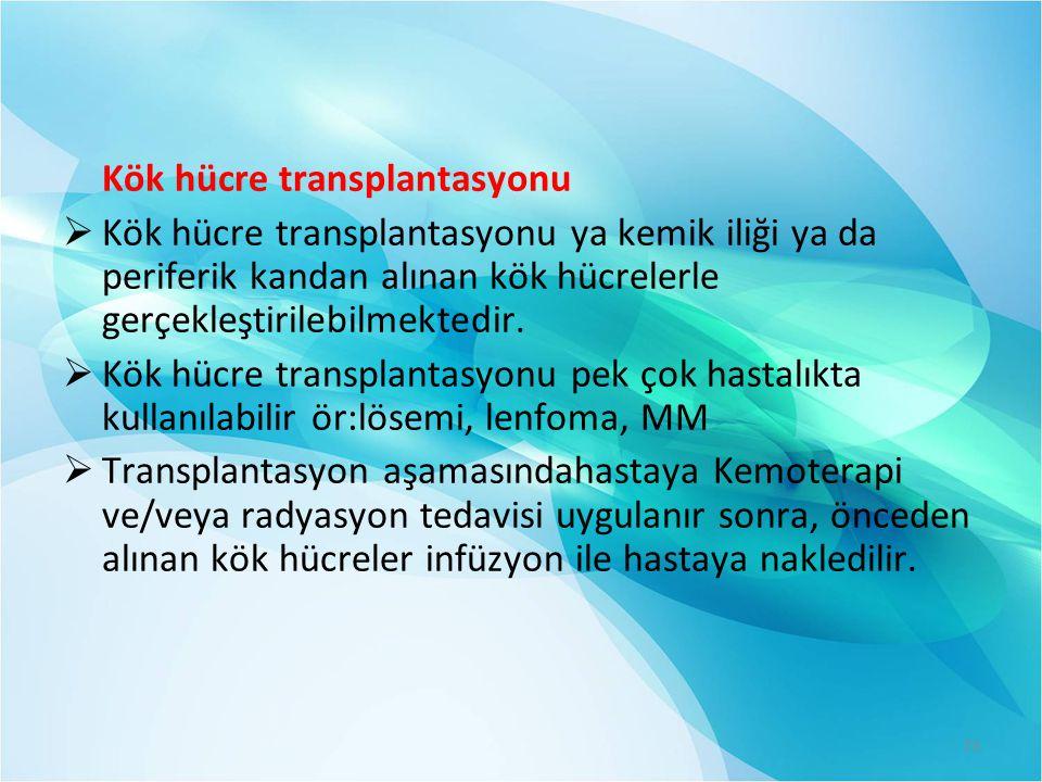 Kök hücre transplantasyonu  Kök hücre transplantasyonu ya kemik iliği ya da periferik kandan alınan kök hücrelerle gerçekleştirilebilmektedir.