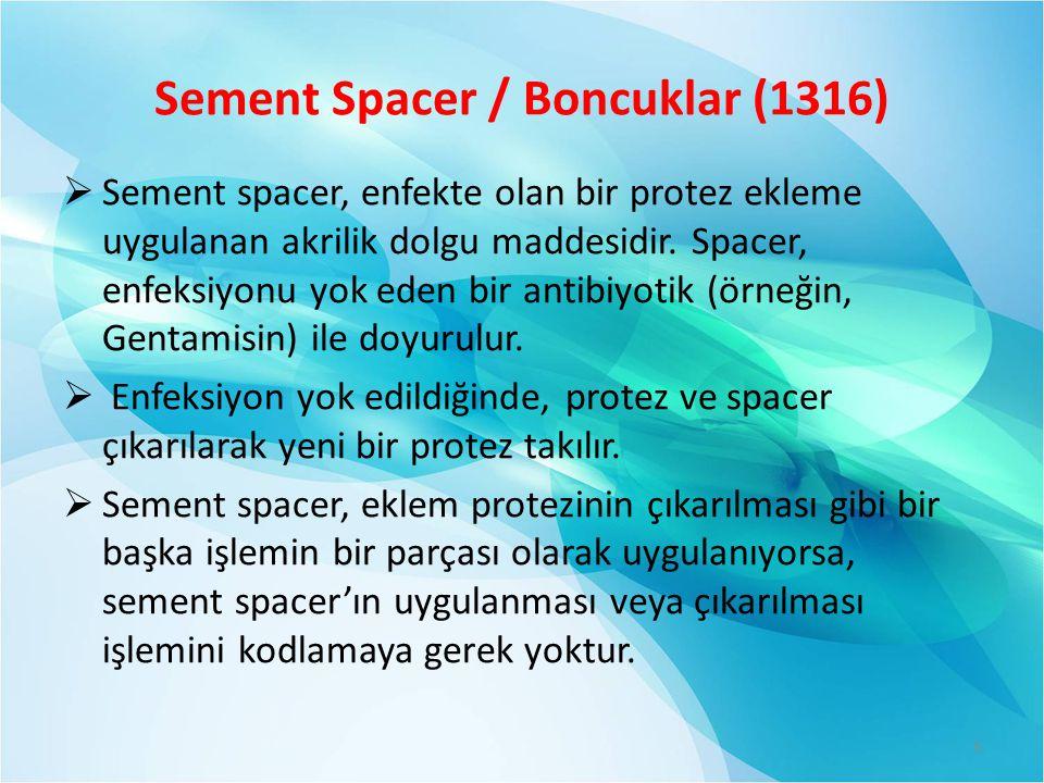 Sement Spacer / Boncuklar (1316)  Sement spacer, enfekte olan bir protez ekleme uygulanan akrilik dolgu maddesidir.