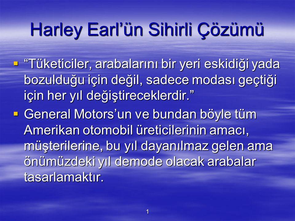 """1 Harley Earl'ün Sihirli Çözümü  """"Tüketiciler, arabalarını bir yeri eskidiği yada bozulduğu için değil, sadece modası geçtiği için her yıl değiştirec"""