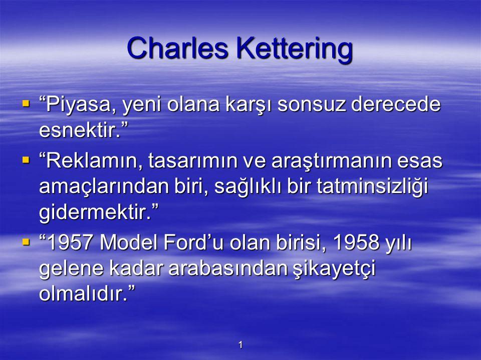 """1 Charles Kettering  """"Piyasa, yeni olana karşı sonsuz derecede esnektir.""""  """"Reklamın, tasarımın ve araştırmanın esas amaçlarından biri, sağlıklı bir"""