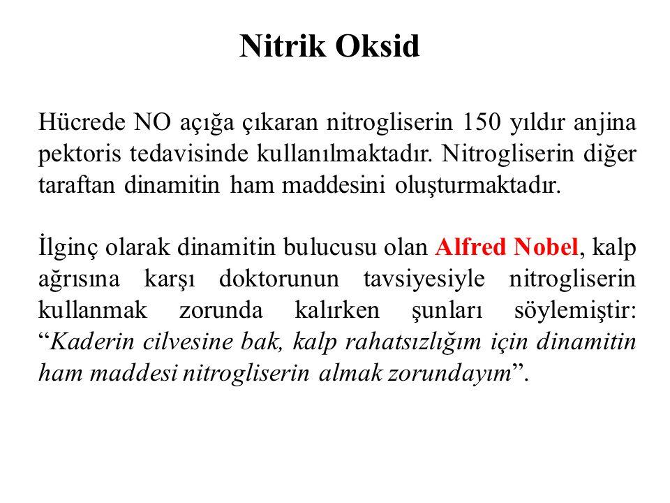 Nitrik Oksid Hücrede NO açığa çıkaran nitrogliserin 150 yıldır anjina pektoris tedavisinde kullanılmaktadır. Nitrogliserin diğer taraftan dinamitin ha
