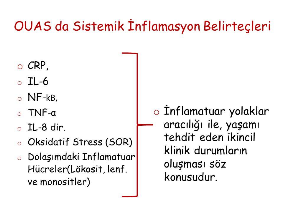 OUAS da Sistemik İnflamasyon Belirteçleri o CRP, o IL-6 o NF- kB, o TNF-α o IL-8 dir.