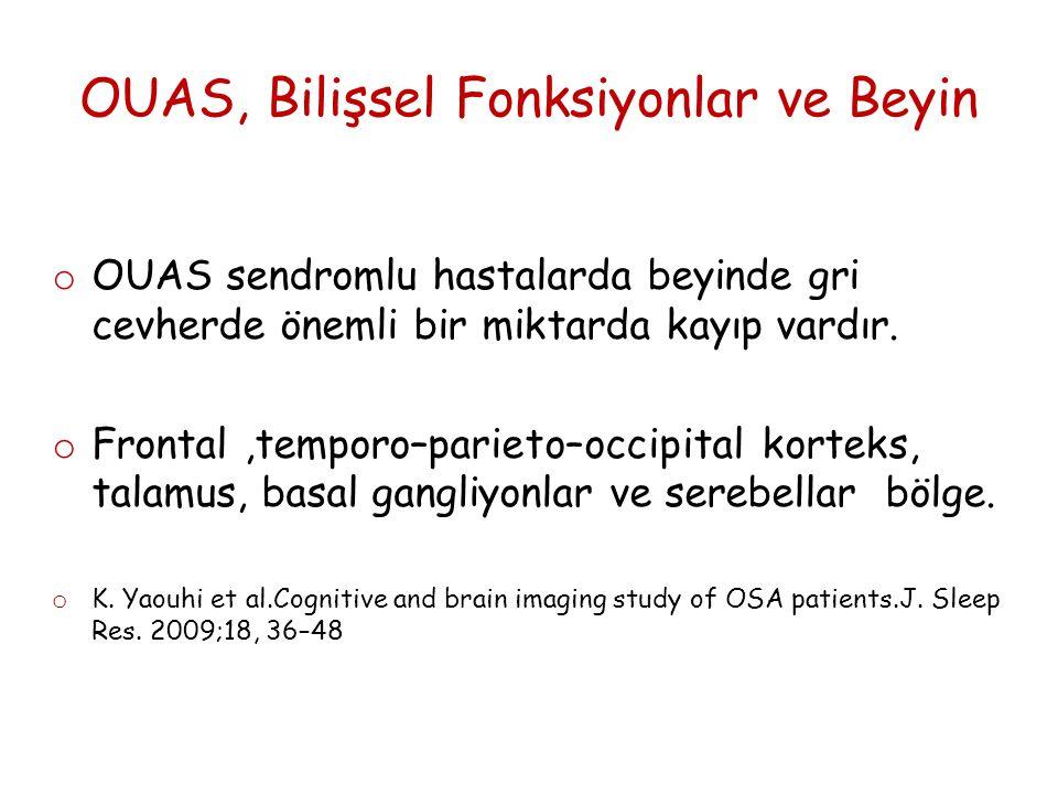 OUAS, Bilişsel Fonksiyonlar ve Beyin o OUAS sendromlu hastalarda beyinde gri cevherde önemli bir miktarda kayıp vardır.