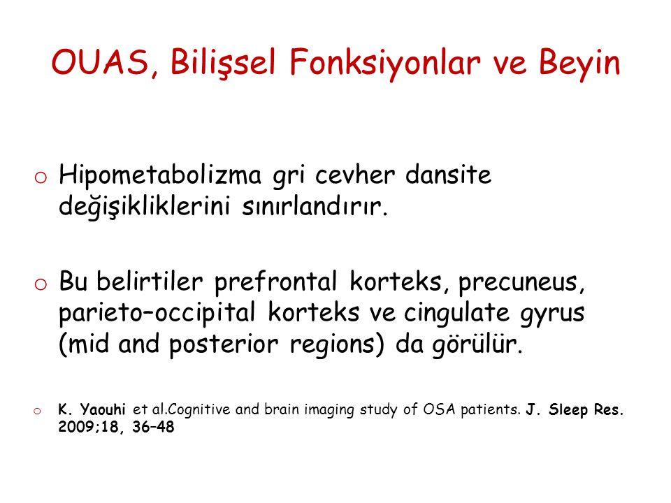 OUAS, Bilişsel Fonksiyonlar ve Beyin o Hipometabolizma gri cevher dansite değişikliklerini sınırlandırır.