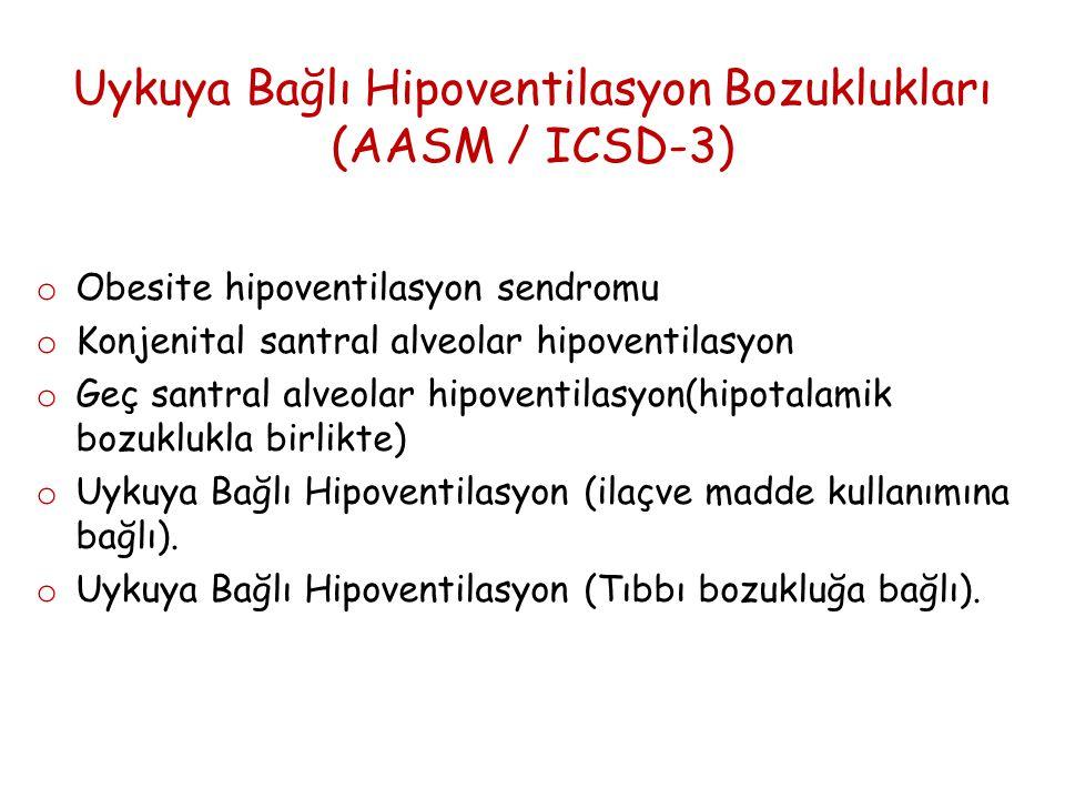 Uykuya Bağlı Hipoventilasyon Bozuklukları (AASM / ICSD-3) o Obesite hipoventilasyon sendromu o Konjenital santral alveolar hipoventilasyon o Geç santral alveolar hipoventilasyon(hipotalamik bozuklukla birlikte) o Uykuya Bağlı Hipoventilasyon (ilaçve madde kullanımına bağlı).