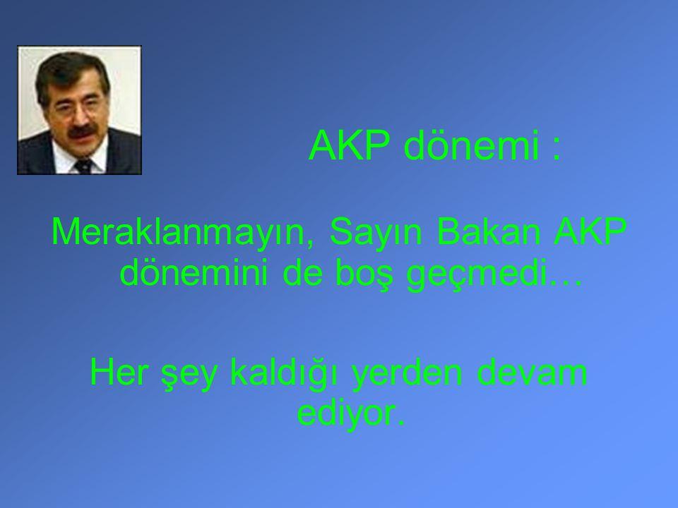 AKP dönemi : Meraklanmayın, Sayın Bakan AKP dönemini de boş geçmedi… Her şey kaldığı yerden devam ediyor.