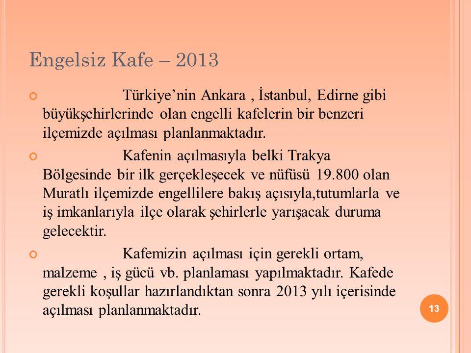 13 Engelsiz Kafe – 2013 Türkiye'nin Ankara, İstanbul, Edirne gibi büyükşehirlerinde olan engelli kafelerin bir benzeri ilçemizde açılması planlanmaktadır.