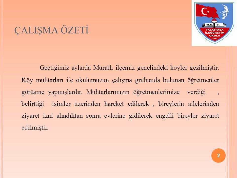 2 ÇALIŞMA ÖZETİ Geçtiğimiz aylarda Muratlı ilçemiz genelindeki köyler gezilmiştir.