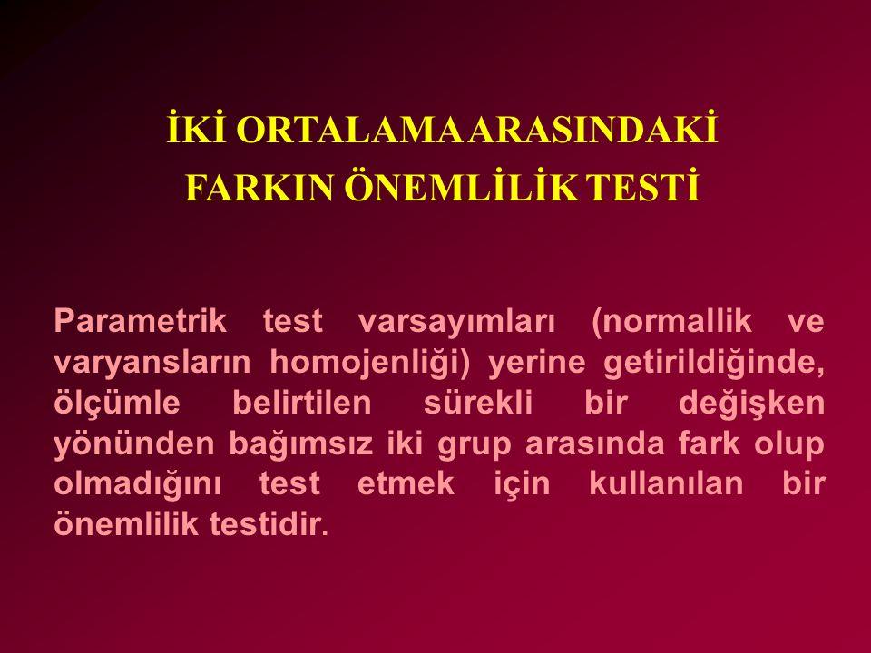 Parametrik test varsayımları (normallik ve varyansların homojenliği) yerine getirildiğinde, ölçümle belirtilen sürekli bir değişken yönünden bağımsız iki grup arasında fark olup olmadığını test etmek için kullanılan bir önemlilik testidir.