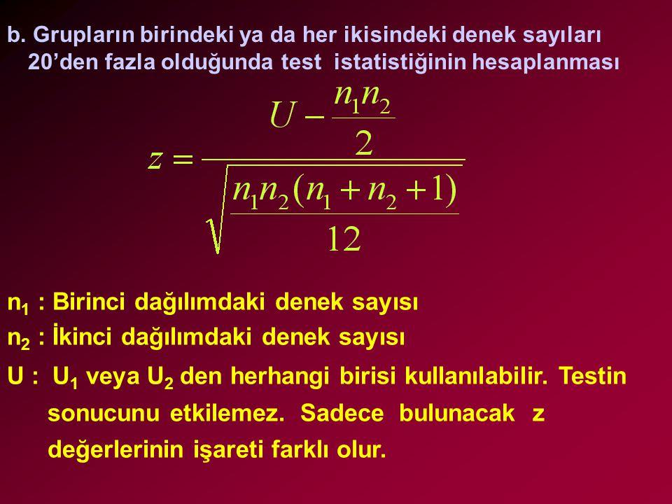 b. Grupların birindeki ya da her ikisindeki denek sayıları 20'den fazla olduğunda test istatistiğinin hesaplanması n 1 : Birinci dağılımdaki denek say