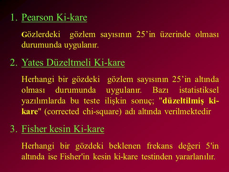 1.Pearson Ki-kare G özlerdeki gözlem sayısının 25'in üzerinde olması durumunda uygulanır.