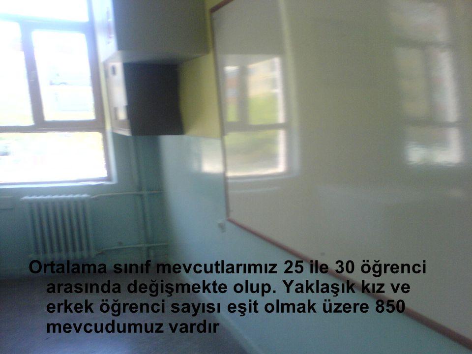 Ortalama sınıf mevcutlarımız 25 ile 30 öğrenci arasında değişmekte olup. Yaklaşık kız ve erkek öğrenci sayısı eşit olmak üzere 850 mevcudumuz vardır