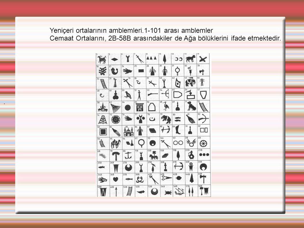 . Yeniçeri ortalarının amblemleri.1-101 arası amblemler Cemaat Ortalarını, 2B-58B arasındakiler de Ağa bölüklerini ifade etmektedir.