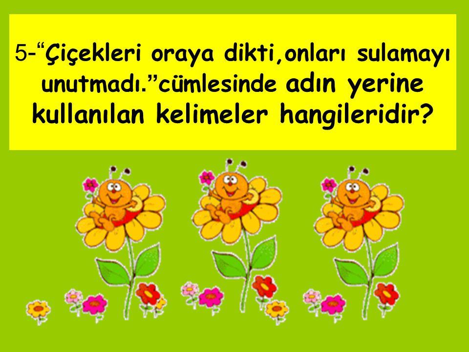 """5 -"""" Çiçekleri oraya dikti,onları sulamayı unutmadı."""" cümlesinde adın yerine kullanılan kelimeler hangileridir?"""