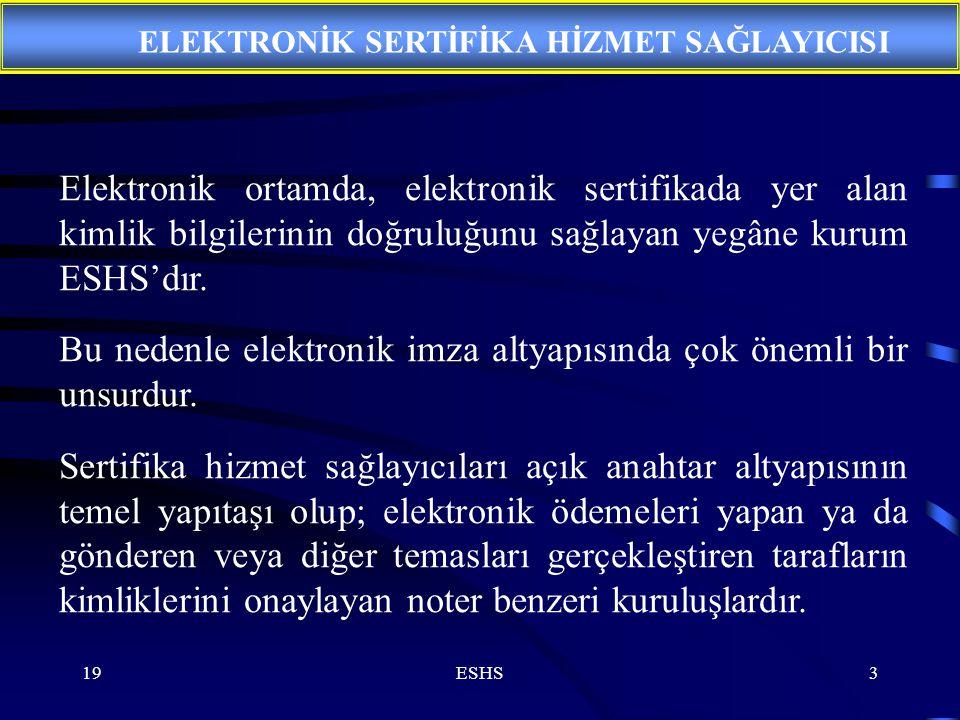 19ESHS3 Elektronik ortamda, elektronik sertifikada yer alan kimlik bilgilerinin doğruluğunu sağlayan yegâne kurum ESHS'dır. Bu nedenle elektronik imza