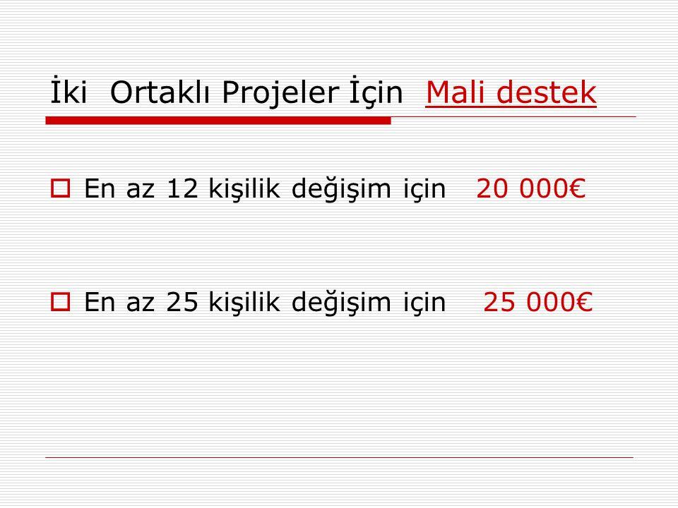 İki Ortaklı Projeler İçin Mali destek  En az 12 kişilik değişim için 20 000€  En az 25 kişilik değişim için 25 000€