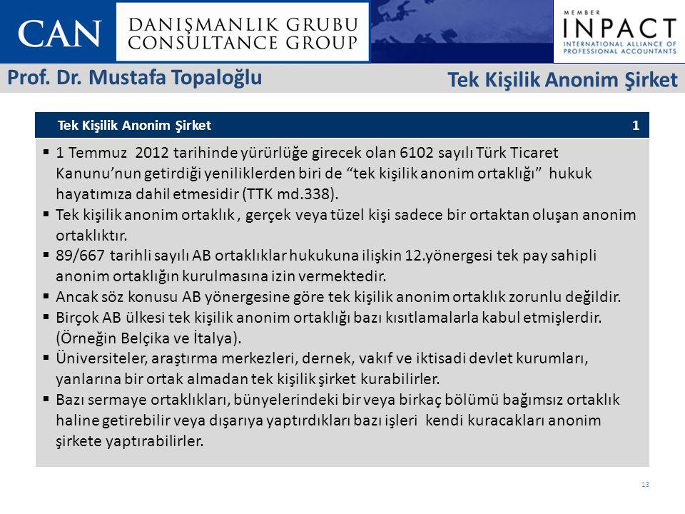 Tek Kişilik Anonim Şirket 1  1 Temmuz 2012 tarihinde yürürlüğe girecek olan 6102 sayılı Türk Ticaret Kanunu'nun getirdiği yeniliklerden biri de tek kişilik anonim ortaklığı hukuk hayatımıza dahil etmesidir (TTK md.338).