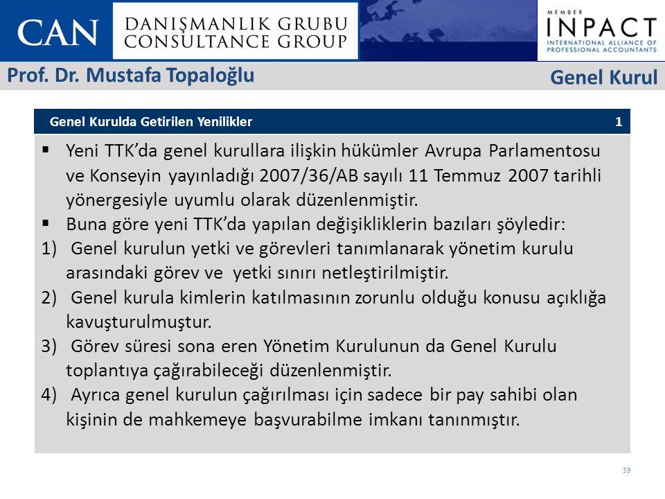 Genel Kurulda Getirilen Yenilikler 1  Yeni TTK'da genel kurullara ilişkin hükümler Avrupa Parlamentosu ve Konseyin yayınladığı 2007/36/AB sayılı 11 Temmuz 2007 tarihli yönergesiyle uyumlu olarak düzenlenmiştir.