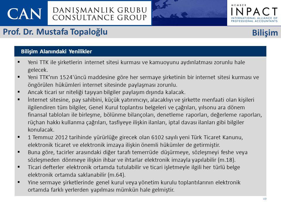 Bilişim Alanındaki Yenilikler  Yeni TTK ile şirketlerin internet sitesi kurması ve kamuoyunu aydınlatması zorunlu hale gelecek.