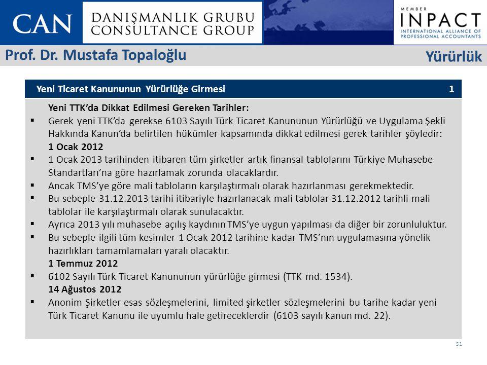 Yeni Ticaret Kanununun Yürürlüğe Girmesi 1 Yeni TTK'da Dikkat Edilmesi Gereken Tarihler:  Gerek yeni TTK'da gerekse 6103 Sayılı Türk Ticaret Kanununun Yürürlüğü ve Uygulama Şekli Hakkında Kanun'da belirtilen hükümler kapsamında dikkat edilmesi gerek tarihler şöyledir: 1 Ocak 2012  1 Ocak 2013 tarihinden itibaren tüm şirketler artık finansal tablolarını Türkiye Muhasebe Standartları'na göre hazırlamak zorunda olacaklardır.