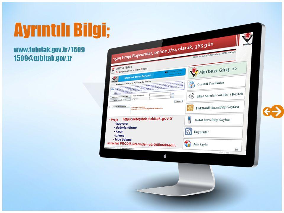 www.tubitak.gov.tr/1509 1509@tubitak.gov.tr Ayrıntılı Bilgi;