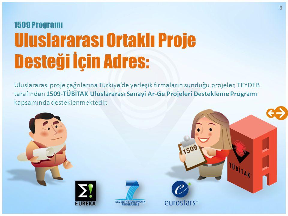 Uluslararası proje çağrılarına Türkiye'de yerleşik firmaların sunduğu projeler, TEYDEB tarafından 1509-TÜBİTAK Uluslararası Sanayi Ar-Ge Projeleri Des