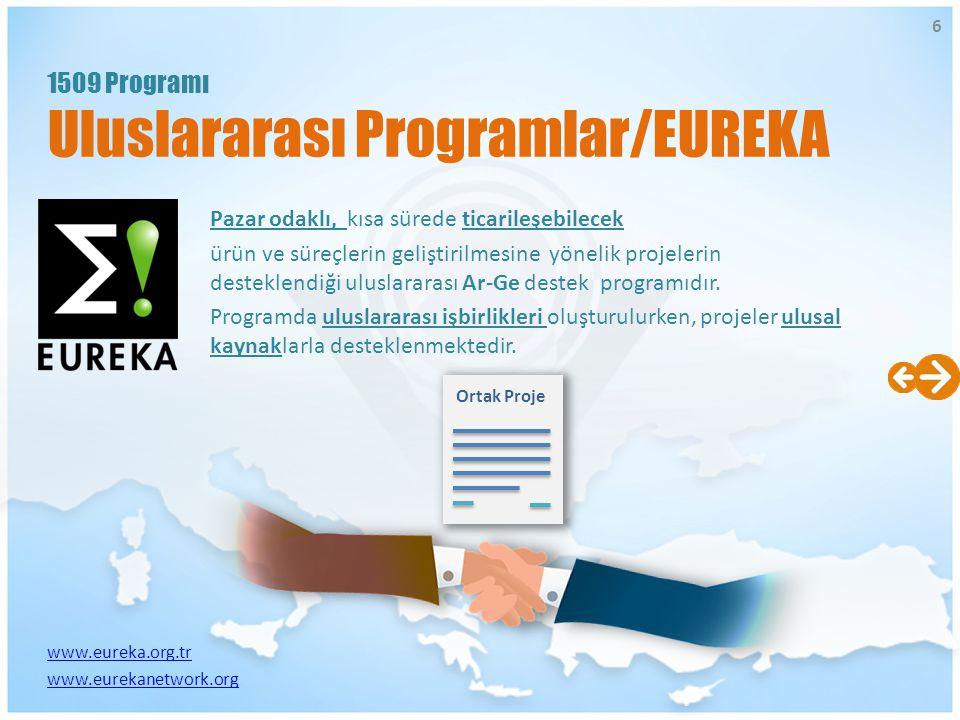 www.eureka.org.tr www.eurekanetwork.org Pazar odaklı, kısa sürede ticarileşebilecek ürün ve süreçlerin geliştirilmesine yönelik projelerin desteklendi