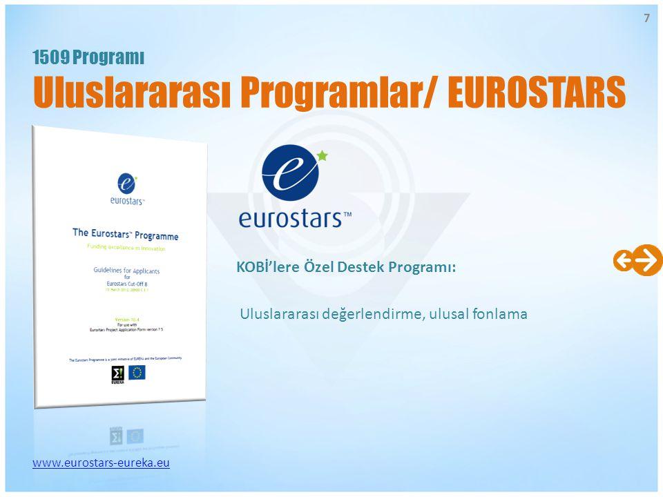 KOBİ'lere Özel Destek Programı: www.eurostars-eureka.eu Uluslararası değerlendirme, ulusal fonlama 1509 Programı Uluslararası Programlar/ EUROSTARS 7