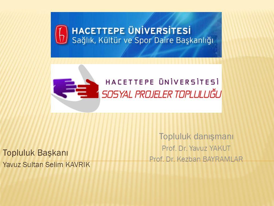 Topluluk Başkanı Yavuz Sultan Selim KAVRIK Topluluk danışmanı Prof. Dr. Yavuz YAKUT Prof. Dr. Kezban BAYRAMLAR