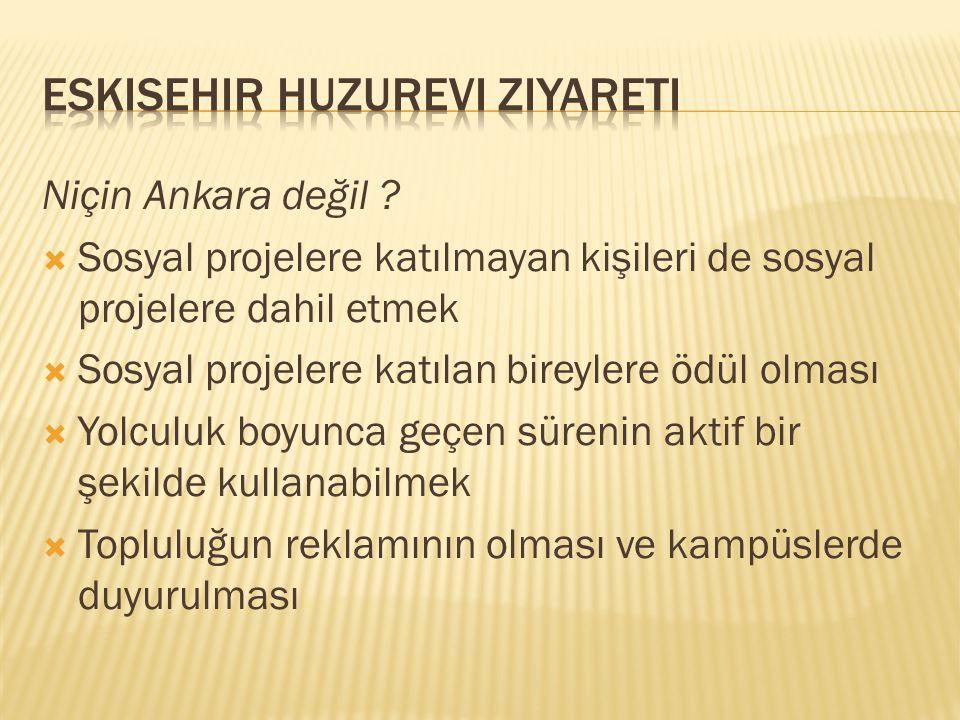 Niçin Ankara değil ?  Sosyal projelere katılmayan kişileri de sosyal projelere dahil etmek  Sosyal projelere katılan bireylere ödül olması  Yolculu